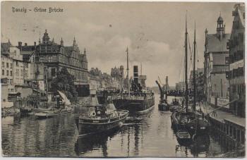 AK Danzig Gdańsk Grüne Brücke viele Schiffe Inflation 4 Marken 1922 RAR