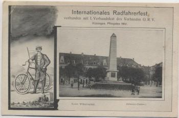 AK Hüningen Huningue Internationales Radfahrerfest Abbatucci-Denkmal Haut-Rhin Elsass Frankreich 1912 RAR