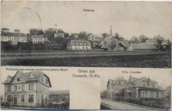 AK Gruss aus Dornach Mülhausen Mulhouse Rebberg Villa Limacher Wirtschaft zum Weissen Kreuz Haut-Rhin Elsass Frankreich 1914 RAR