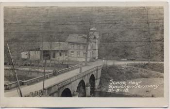 AK Foto Speicher (Eifel) Blick auf Moltkeburg mit Brücke 1918 RAR