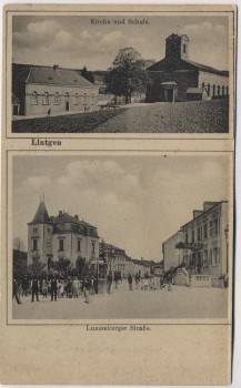 AK Lintgen Kirche Schule Luxemburger Straße Kanton Mersch Luxemburg Luxembourg 1920 RAR