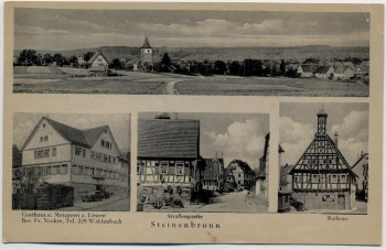 AK Mehrbild Steinenbronn Gasthaus z. Löwen Rathaus Ortsansicht ... 1943