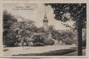 AK Grünberg in Schlesien Zielona Góra Am Kaiser Wilhelm-Denkmal Polen 1920