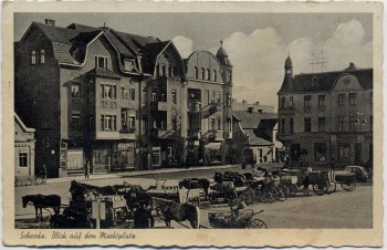 AK Schroda Środa Wielkopolska Blick auf den Marktplatz viele Pferdekutschen Warthegau Posen Polen 1941 RAR