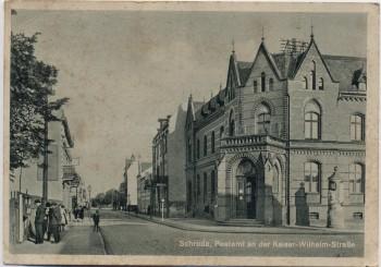 AK Schroda Środa Wielkopolska Postamt an der Kaiser-Wilhelm-Straße Warthegau Posen Polen 1940 RAR