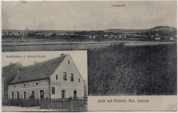 AK Gruß aus Röcknitz Totalansicht und Geschäftshaus bei Thallwitz 1919