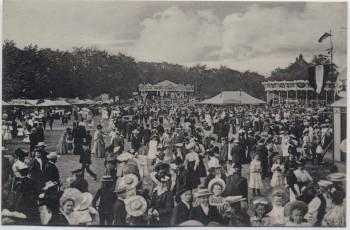 AK Aschersleben Sedanfest Volksfest viele Menschen Karussell 1910 RAR