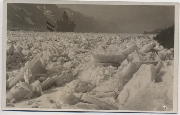 AK Foto Burg Pfalzgrafenstein bei Kaub Rhein zugefroren mit Fahne 1928