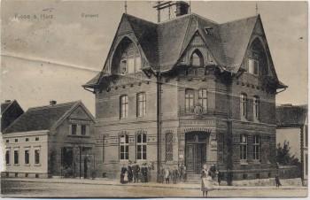 AK Frose am Harz Postamt mit Menschen bei Seeland 1915