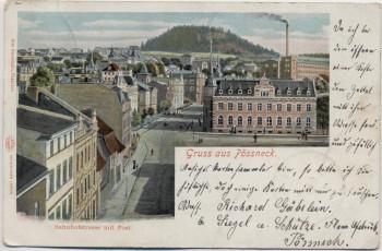 AK Gruss aus Pössneck Bahnhofstrasse mit Post 1902