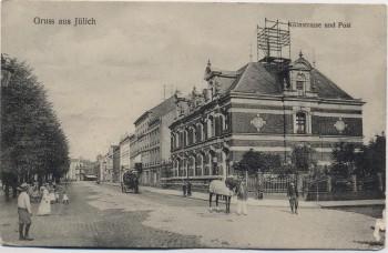 AK Gruss aus Jülich Kölnstrasse und Post mit Menschen 1911