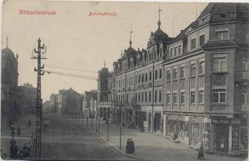 AK Kötzschenbroda bei Radebeul Bahnhofstraße mit Geschäft und Menschen 1910 RAR