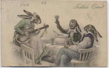 Künstler-AK Fröhliche Ostern M.M. Vienne M. Munk 3 Hasen mit Bowle und Gitarre 1914