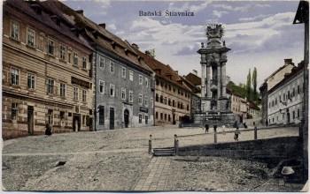 AK Banská Štiavnica Schemnitz Schebnitz Dreifaltigkeitsplatz Slowakei 1921 RAR