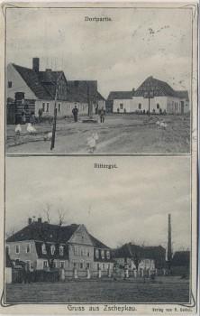 AK Gruss aus Zschepkau Dorfpartie Rittergut bei Löberitz Bitterfeld-Wolfen 1912 RAR