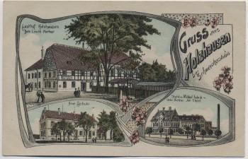 AK Gruss aus Holzhausen bei Schweickershain Gasthof Schule Fabrik bei Geringswalde Erlau 1922 RAR