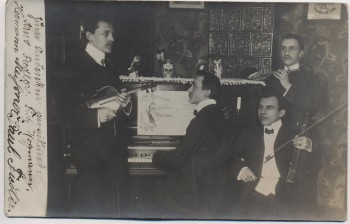 AK Foto Teichweiden Männer-Gesangsgruppe Klavier Geige Flöte bei Uhlstädt-Kirchhasel 1908