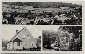 AK Mehrbild Gruß aus Wolfsbrunn Totale Handlung Bienenzüchterei Stoll bei Heilsbronn 1939 RAR