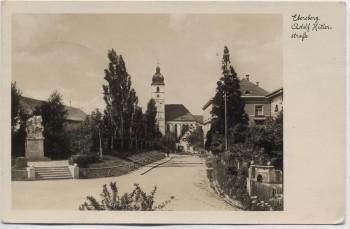 AK Foto Ebersberg Adolf Hitler-Straße Kirche mit Denkmal Oberbayern 1935 RAR