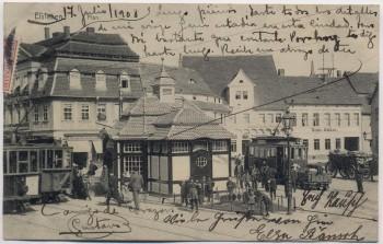 AK Eisleben Plan mit Hotel Zum Anker Straßenbahn Menschen 1908 RAR