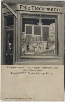 AK Wolfenbüttel Lange Herzog-Strasse 11 Musik-Instrumente Fritz Tiedermann Geschäft 1910 RAR