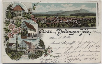 AK Litho Dettingen unter Teck Schloss Kunstmühle Ortsansicht ... 1899 RAR