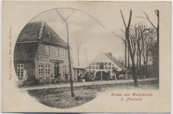 VERKAUFT !!!   AK Gruss aus Wolfsbruch bei Neuland Gasthaus Sieb bei Wischhafen Stade 1900 RAR