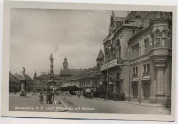 AK Foto Korneuburg Adolf Hitlerplatz mit Rathaus Niederösterreich Österreich Feldpost 1941