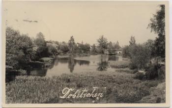 AK Foto Dobitschen in Thüringen Ortsansicht mit Teich bei Starkenberg 1958 RAR