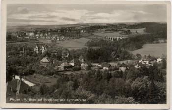 AK Foto Plauen in Vogtland Blick auf Streitsberg und Syratalbrücke 1935
