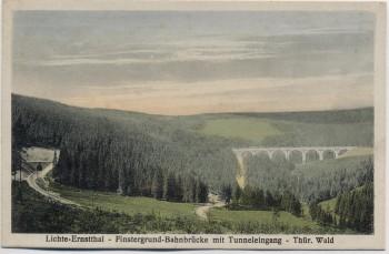 AK Lichte Ernstthal Finstergrund Bahnbrücke mit Tunneleingang Thüringen 1920