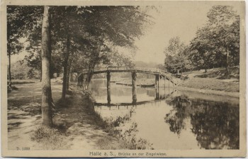 AK Halle an der Saale Brücke an der Ziegelwiese 1910