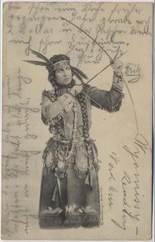 AK Indianerin mit Pfeil und Bogen 1914