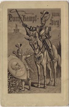 Künstler-AK Otto von Bismarck Durch Kampf zum Sieg ! Ritter auf Pferd Patriotika Feldpost 1917
