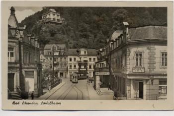 AK Foto Bad Schandau Schloßbastei mit Straßenbahn und Stadtcafe 1958