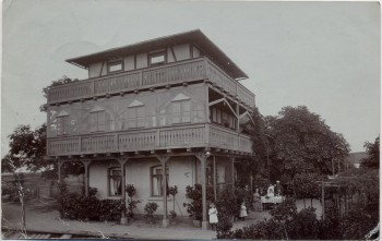 AK Foto Bad Klosterlausnitz Gärtnerei und Weinschänke zur Sächs. Schweiz mit Menschen 1905 RAR