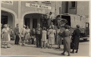 AK Foto Pehritzsch Gulaschkanone mit Menschen bei Jesewitz 1940 RAR