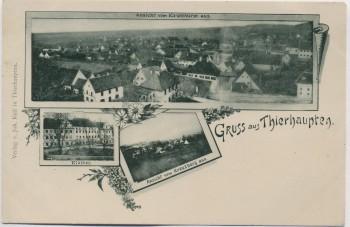 AK Gruss aus Thierhaupten Ansicht vom Kirchturm aus Schwaben Bayern 1900 RAR