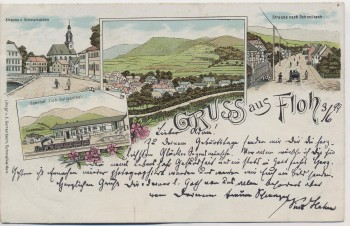 AK Litho Gruss aus Floh-Seligenthal Bahnhof Ortsansicht Straßen 1899 RAR