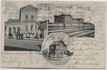 AK Gruß aus Förderstedt Bahnhof Post Klempnermeister bei Staßfurt 1908 RAR