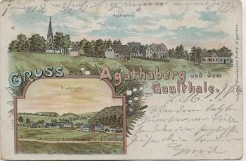 AK Litho Gruss aus Agathaberg und dem Gaulthale Wipperfürth 1904 RAR
