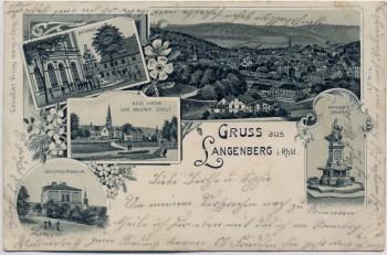 AK Gruss aus Langenberg im Rheinland Kriegerdenkmal Rathaus Gymnasium ... 1905 RAR