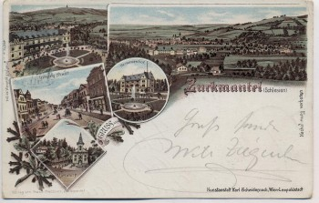 AK Litho Zuckmantel Zlaté Hory Ortsansicht Herminenhof ... Schlesien Tschechien 1898 RAR