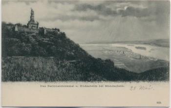 AK Nationaldenkmal und Rüdesheim bei Mondschein 1904