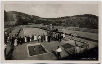 AK Foto Königsberg in Bayern Städt. Schwimmbad mit Menschen 1940 RAR