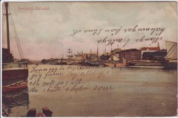 AK Halmstad Hamnparti Partie im Hafen Halland Schweden 1908