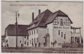 AK Gruß vom Truppenübungsplatz Alten-Grabow Altengrabow Bahnhofs-Hotel Möckern 1911