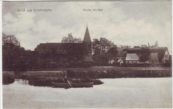 AK Gruß aus Kirchweyhe Kirche mit See Boot Weyhe Niedersachsen 1910