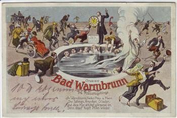 AK Gruss aus Bad Warmbrunn im Riesengebirge Cieplice Śląskie-Zdrój bei Hirschberg Jelenia Góra Comic Schlesien Polen 1924