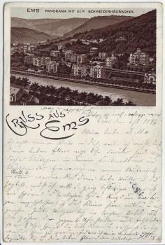 AK Litho Gruss aus Bad Ems Panorama mit dem Schweizerhäusschen 1897